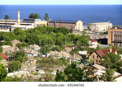 Ukraine. Mariupol. Top view of the coast of the Azov Sea and the historic part of town.