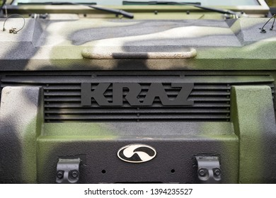 "UKRAINE - MAY 9, 2019: Military armored vehicle ""KRAZ"" are on display."