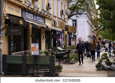 Ukraine, Odessa / 10.29.18: streets of Odessa with open-air restaurants