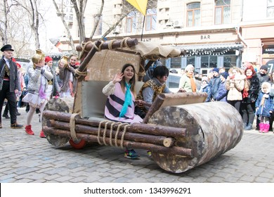 UKRAINE, ODESSA - APRIL 1, 2018: a holiday of humor and laughter,car flintstones