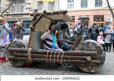 UKRAINE, ODESSA - APRIL 1, 2018: a holiday of humor and laughter,flintstones car