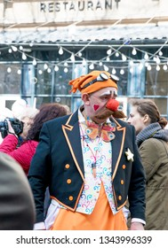 UKRAINE, ODESSA - APRIL 1, 2018: a holiday of humor and laughter,performance, carnival, famous actors walk down the street in funny costumes