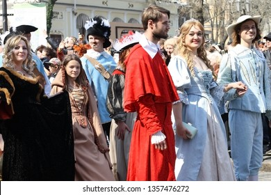 UKRAINE, ODESSA - April 1, 2019: a celebration of humor and laughter, young people in costumes from the Dartanyan movie and three musketeers.