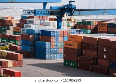 Ukraine, Odessa, April 11, 2018: containers in seaport. Large port of the Black Sea. Shipping and shipment worldwide