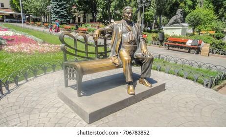 UKRAINE. ODESSA. JUNE, 2017: Monument to Leonid Utyosov in the City Garden of Odessa.