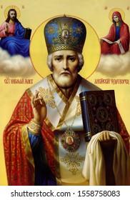 UKRAINE, ODESSA REGION, VILLAGE PETRODOLINSKOE – APRIL, 22, 2013: Icon of St. Nicholas the Wonderworker.