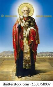 UKRAINE, ODESSA REGION, VILLAGE PETRODOLINSKOE – OCTOBER, 13, 2012: Icon of St. Nicholas the Wonderworker.