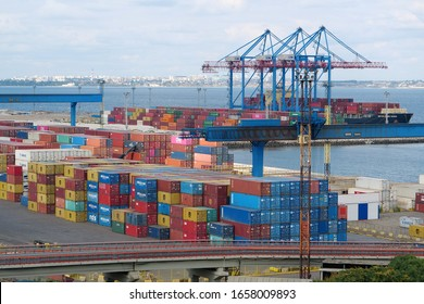 UKRAINE, ODESSA, SEPTEMBER 7, 2019: Color containers in a warehouse at Odessa port - largest Ukrainian seaport and one of largest ports in Black Sea basin