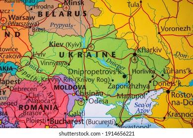 Ukraine on political map of Europe