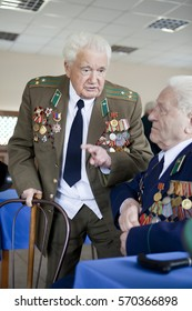 Ukraine, Orshanets, May 25, 2011: President Yanukovych arrived in Cherkasy region in the training center of frontier guards. At this time, the veterans in the dining room was closed.