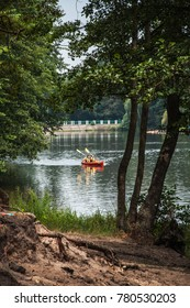 Ukraine, Pushcha Voditsa - July 21, 2017: Kayak with two people on a forest lake in the suburbs of Kiev