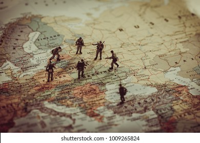 Ukraine, Russia and eurounion countries military conflict. Geopolitical concept.