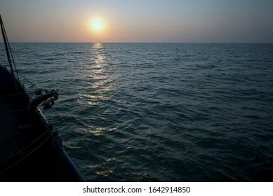 Ukraine, Sea of Azov, fishing boat engaged in industrial fishing