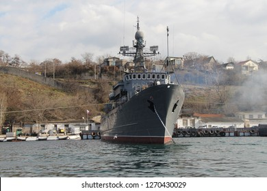 "Ukraine, Sevastopol - March 04, 2013: View on Russian ocean minesweeper project 266M (NATO: Natya-class) ""Akvamarin"" 911 Ivan Golubets in Sevastopol Bay."