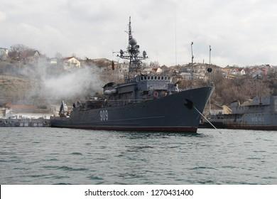 "Ukraine, Sevastopol - March 04, 2013: View on Russian ocean minesweeper project 266M (NATO: Natya-class) ""Akvamarin"" 909 Vice Admiral Zhukov in Sevastopol Bay."