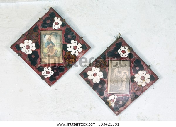 Ukraine, Svalyava, April 4, 2006: Icons in the old temple of Transcarpathia Ukraine Svaliava painting in a typical Hutsul style wooden temple is well preserved Ukrainian Christianity