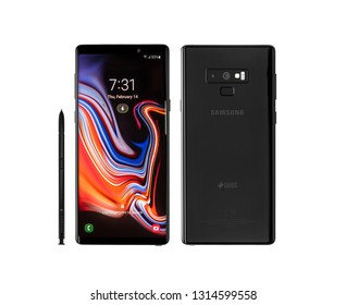 Ukraine, Uzhgorod - February, 14, 2019: Studio shot of Samsung Galaxy Note 9 smartphone on a white background, developed and marketed by Samsung Electronics.