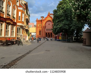 Ukraine, Uzhhorod - April 30,2018: A building of the synagogue in Uzhhorod, now the Transcarpathian Regional Philharmonic. Bright architectural style with elements of the Byzantine and Moorish Revival