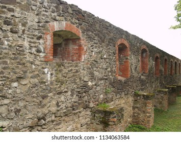 Ukraine. Uzhhorod Castle. Ruins of the fortress wall
