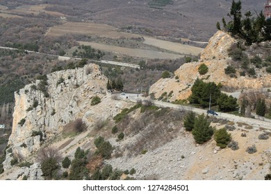 Ukraine, Yalta - March 08, 2013: View on road in south part of Crimean Peninsula between Sevastopol and Yalta.