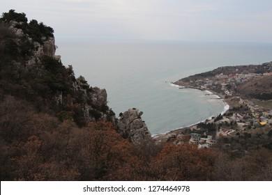 Ukraine, Yalta - March 08, 2013: View on Katsiveli from Mount Koshka (Cat Mount). It's an urban-type settlement in the Yalta Municipality