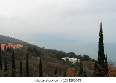 Ukraine, Yalta - March 10, 2013: View on Crimean south coast near Yalta.