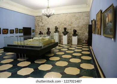 UKRAINE, ZBARAZH, MARCH 25, 2017: Inside Zbarazh Castle, 1626-1631, is a fortified defense stronghold, built during the times of Polish-Lithuanian commonwealth, located in historic region of Galicia