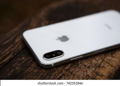 UKRAINE-17 SEPTEMBER,2018:Iphone xs.New Apple 11 smart phone model.Trendy white latest cell phone model.Dual photo camera lens on back panel