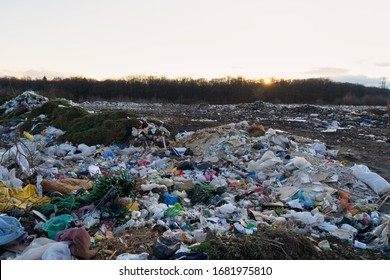 Ukraine,Khodoriw,March-22,2020:Pollution concept. Landfill near the forest.