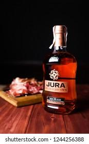 Ukraine.Kiev- September, 2018: Jura distillery is a Scotch whisky distillery on the island of Jura in the Inner Hebrides off the West Coast of Scotland.
