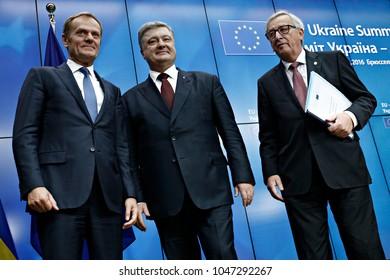 Ukraine's President Petro Poroshenko, EU Council President Donald Tusk and EU Commission President Jean-Claude Juncker attend at the EU-Ukraine summit in Brussels, Belgium on Nov. 24,2016