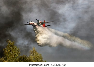 Ukrainian Antonov-32 firefighting aircraft dropping a load of water to extinguish the fire in the forest. Training of rescue services near Kyiv, Ukraine. September 2019.