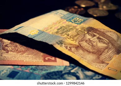 Ukrainian banknotes in 1, 2 and 5 hryvnia. Money of Ukraine. Hryvnia.