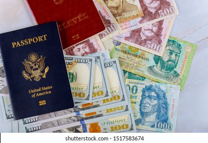 Ukrainian biometric passport and Hungarian passport money on US dollars and money banknotes forints in dual citizenship