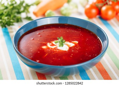 Ukrainian Borscht Bowl Sour Cream Parsley Dinner