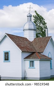 Ukrainian church where early settlers would walk up to four miles to church, stood during mass and then walked home.