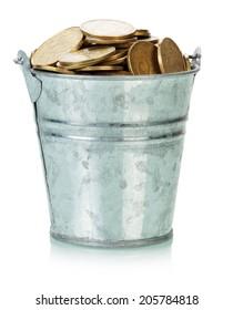 Ukrainian coins in bucket
