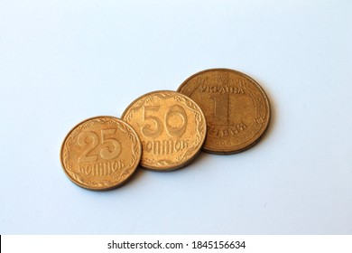 Ukrainian coins isolated on white background.