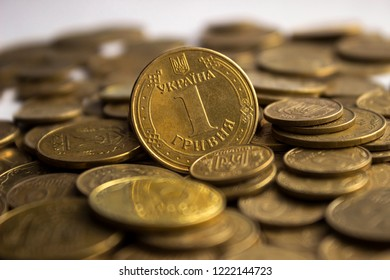 Ukrainian coins, many money - hryvnia and a penny, background