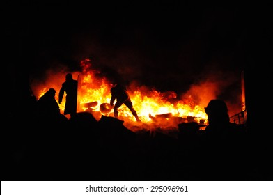 Ukrainian crisis.Protester burn tires to stop the riot police. Street fights in Kyiv, Ukraine. Ukraine crisis. Fires of a Revolution.