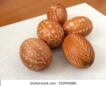 Ukrainian Easter eggs, painting technique. Easter idea and holiday preparation. Beautiful Easter egg Pysanka handmade