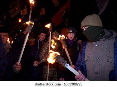 Ukrainian far-rightists lighting torches to celebrate the birthday of great Ukrainian nationalists leader Stepan Bandera. January 1, 2018. Kiev, Ukraine