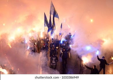 Ukrainian far-rightists marching through Kiev in a torchlight procession to celebrate the birthday of great nationalists leader Stepan Bandera. January 1, 2018. Kiev, Ukraine