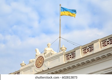 Ukrainian flag on Odessa city hall, Ukraine