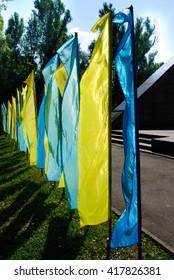 Ukrainian flags. The national colors.