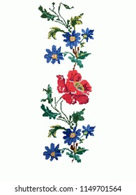 Ukrainian folk embroidery, embroidered flowers isolated on white fabric, fabric decor, hand embroidery