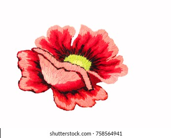 Ukrainian folk embroidery, hand embroidery,  embroidered poppy flower isolated on white background