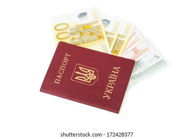 Ukrainian foreign passport with euro banknotes isolated on white background