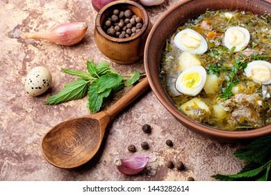 Ukrainian green borsch.Borsch with sorrel and nettles.Russian cuisine.Ukrainian cuisine.