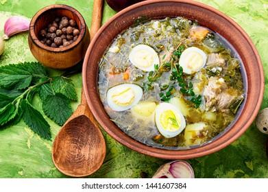 Ukrainian green borsch.Borsch with sorrel and nettles.Ukrainian cuisine